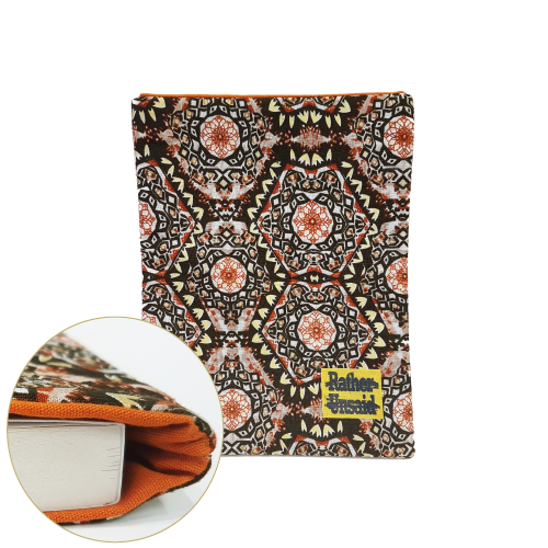Picture of Book Sleeve - Brown Gold Mandala Print (Paperback Books)