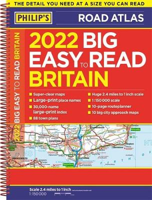 Picture of 2022 Philip's Big Easy to Read Britain Road Atlas : (A3 Spiral binding)