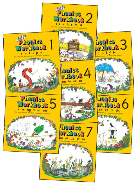 Picture of Jolly Phonics Workbooks 1-7 : in Precursive Letters (American English edition)